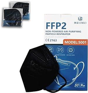 NEWTECK Mascarillas FFP2 50 Unidades Negras CE 2163. Mascarillas FFP2 Negras Homologadas con Alta eficiencia Filtración, E...