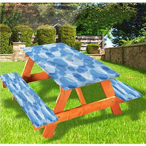 LEWIS FRANKLIN - Cortina de ducha abstracta de lujo para picnic, diseño de círculos superpuestos, mantel de borde elástico, 70 x 72 pulgadas, juego de 3 piezas para mesa plegable