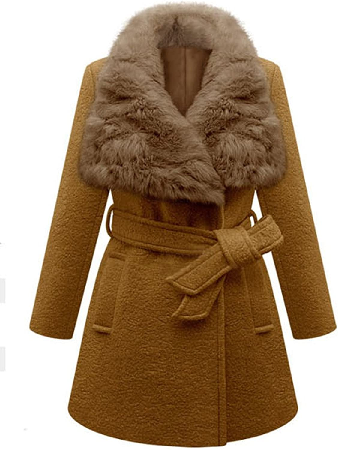 Elegant Belt Solid Long Sleeve Faux Fur Collar Women Woolen Coat