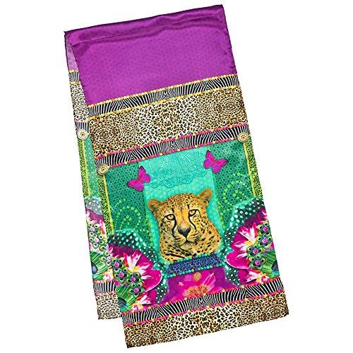 VON LILIENFELD Seidenschal Damen Satin lang Motiv Kunst Raubkatze Gepard Eva Maria Nitsche: Longing Leopard