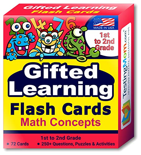 TestingMom.com Gifted Learning Flash Cards – Math Concepts for 1st Grade - 2nd Grade – Addition, Subtraction, Fractions, and More for Grade 1 - Grade 2 CogAT Test, Iowa Test, NYC Gifted and Talented