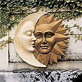 Celestial Harmony - Escultura de pared al aire libre, colgante de sol y luna, decoración vintage para colgar en la pared, placa de pared para patio, porche, placa de pared de 11.8 pulgadas
