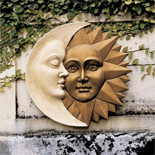 Celestial Harmony Sun and Moon Outdoor Wall Sculpture, Sun Moon Wall Art Pendent, Vintage Wall Hanging Ornament, Patio Porch Hanging Sign Wall Plaque, 11.8Inch