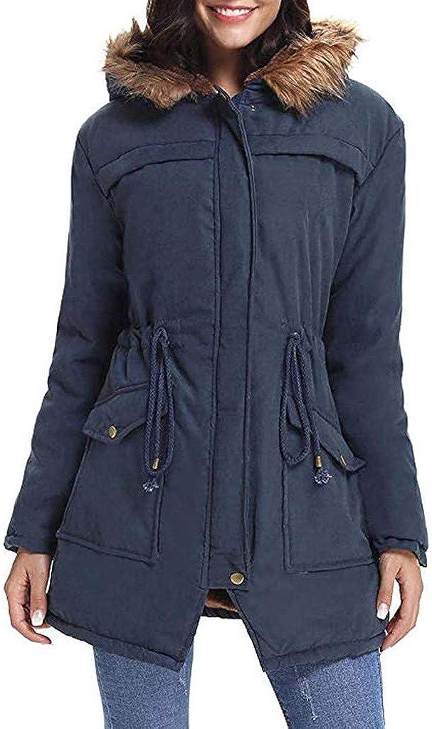 Jackets for Women Long Coats Faux Fur Lining Jacket Warm Winter Thicken Fleece Lined Parka Outwear