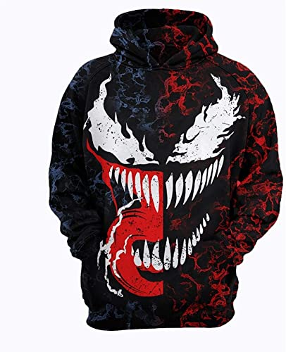 WTZFHF Sweat à Capuche 3D de Sport pour Hommes de la Mode Pull-Over, Motif Anime Imprimer Venom Pattern Movie Cosplay Décontracté Sweat à Capuche Unisexe