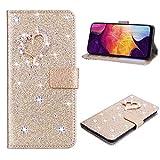 SEEYA Funda con purpurina para Xiaomi Redmi Note 10 4G Gold Love Heart Desgin Funda de piel con tapa para tarjeta con cierre magnético Kickstand a prueba de golpes Funda para teléfono Niña Mujeres