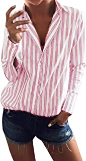 T Shirts for Womens, FORUU Striped Long Sleeve Button Up High Low Hem Blouse Top