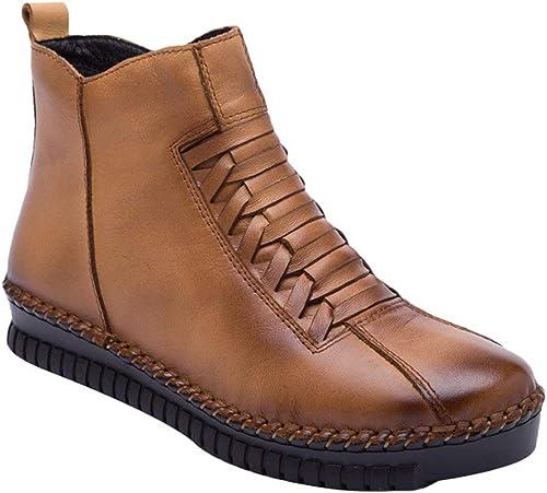 Qiusa Nouvelles Bottines Bottines Bottines d'hiver pour Femmes Décontracté Side Zip chaussures Taille UK 3-8 (Couleuré   Style 1-Dark Camel, Taille   5.5 6 UK) 7b3