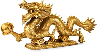 Pure Copper Chinese Dragon Statue, Modern Brass Sculpture, Collection Figurines, Home Decoration, Living Room feng Shui De...
