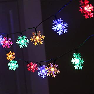 AMARS Christmas Snowflake String Lights, Battery Operated, 19.7ft 40 LED Xmas Fairy Lights for Garden Party Wedding Patio ...