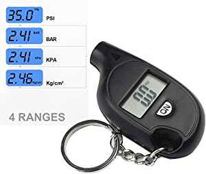 Super Mini Tire Pressure Checker  CLKJCAR Portable LCD Digital Tyre Pressure Monitor with Keyring  Tyre Air Pressure Gauge Tester Tool for Car  Bicycle  Motorcycle  Bike  and More