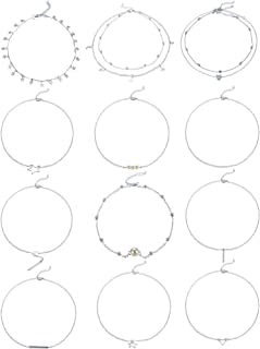 12 Pieces Sliver Layering Chain Choker Necklace Layered Pendant Statement Necklace for Women Girls