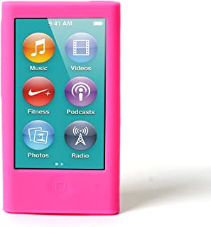ColorYourLife iPod Nano Silicone Cases Skins Covers for New iPod Nano 8th Generation 7th Generation with 1 Screen Protector and Cleaning Wipe (Hot Pink)