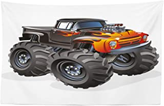 Lunarable Nursery Tapestry, Monster Truck in Flame Big Hobby Sports Exotic Automobile Style Image, Fabric Wall Hanging Decor for Bedroom Living Room Dorm, 45