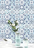 Contact Paper Blue Waterproof White Wallpaper Blue and White Peel and Stick Wallpaper Removable...