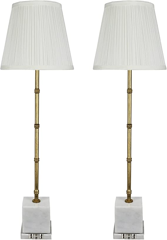 Urbanest Set Of 2 Serrino Buffet Lamps Gold With White Marble 29 Inch Tall Amazon Com