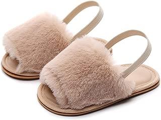 Bebila Summer Baby Girls Sandals Faux Fur Slides with Elastic Back Strap Flats Shoes Rubber Sole Toddler Slippers for Kids