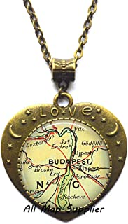 AllMapsupplier Fashion Necklace Budapest map Pendant,Budapest,Hungary map Necklace,Budapest Pendant,Budapest Necklace,A0062