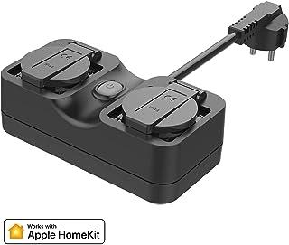 meross Enchufe Inteligente Wi-Fi, Compatible con Apple HomeKit, Resistente al Agua, Wi-Fi Jardín Enchufe, Doble Toma, Compatible con Siri, Alexa, Google Assistant. 2,4 GHz