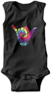 Pullan Eudora Bright Tie Dye Shaka Baby Boy's Girls' Sleeveless Cotton Bodysuits Black