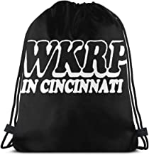 LiqfyuUFYtd8 WKRP Cincinnati - 70's Retro Tv Comedy Show Durable Drawstring Backpack for Mens and Womes White