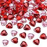 200 Pezzi Cuore Rosso Acrilico per San Valentine, Matrimonio Decorazione a Forma di Cuore, Cuori Acrilici per Vaso Filler, 0.5 Pollici (200 Pezzi, Rosso, Rosa)