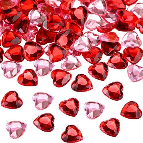 200 Stücke Rot Acryl Herz für den Valentinstag, Hochzeit Herz Tisch Streuung Dekoration, Acryl Herzen für Vasenfüller, 0,5 Zoll (200 Stücke, Rot, Rosa)