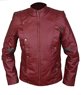 致死薬用ギャングスターF&H Men's Star Lord Galaxy Guardians Genuine Leather Jacket