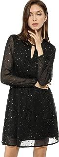 Women's Choker V Neck Vintage Flared Gilding Metallic Shiny Star A-Line Dress