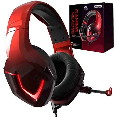 INHANDA Gaming Headset,Xbox One Headset with Stereo Surround Sound,PS4 Gaming Headset with Mic,Memory Foam Earmuffs,LED Light,Compatible with Xbox,PC,Switch,Mac,Laptop,PS5 - Gradient Red