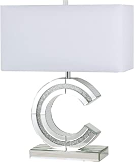 SH Lighting Classic C Shape Mirror Table Lamp with Crushed Diamond Crystal Designed Centerpiece - Feature Large White Linen Shade - 22.5