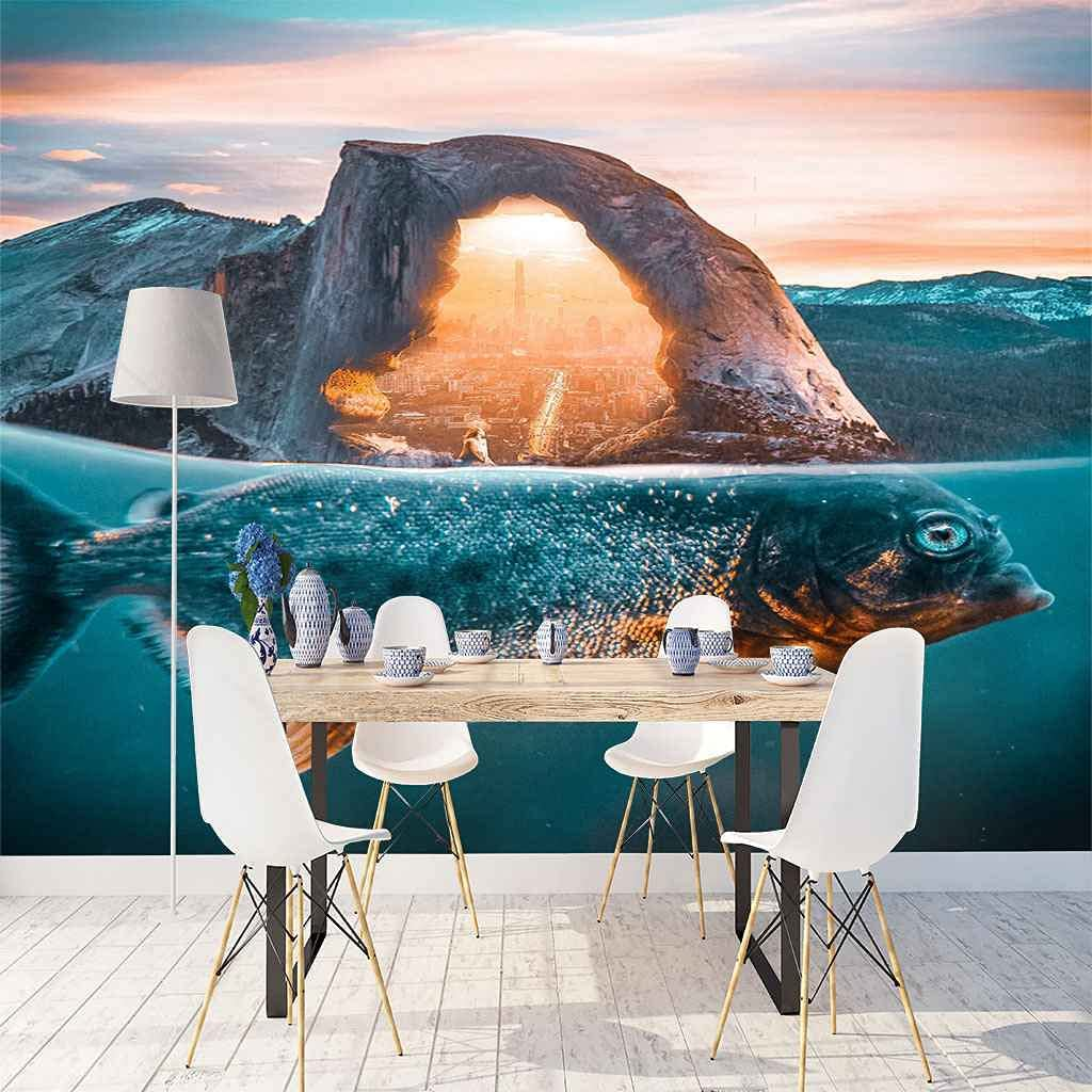 FVGKYS Wall SEAL limited product Decals Art 3D Custom Fish Poster Mural Ocean Blue Wa Philadelphia Mall