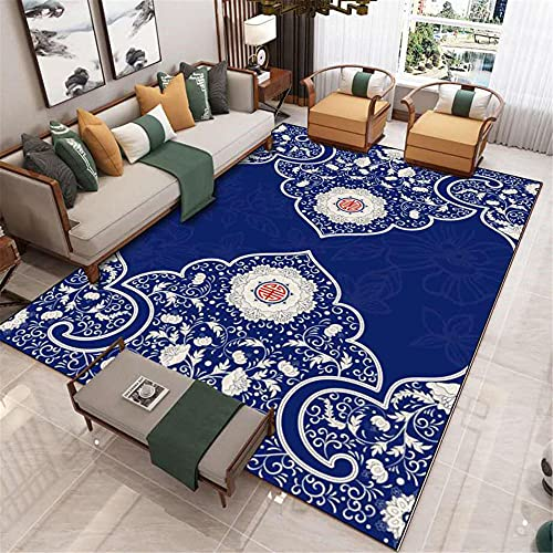 Estilo étnico Azul Patrón Tradicional Simétrico Fácil de Limpiar y cálido Accesorios para el hogar Corredor Interior Casa de Noche Alfombra de la noche-80x160cm fácil de Limpiar Igual Que la fo