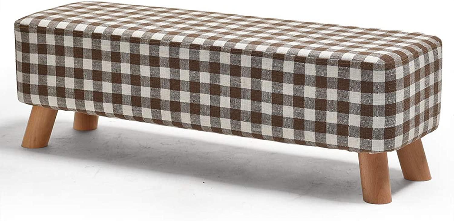 Footstool, Rectangular Cushioned Stool Sofa Solid Wood Fabric Bedroom Living Room 4 Legs HPLL (color   3, Size   87  29  28cm)