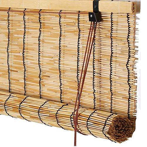 YUJ1ANHUAA Bambusrollos Reed Jalousien Bambus Rollläden Natürliche Reed Vorhänge Reed Roll up Rolläden Raffrollo Stroh Schilfrollos,für Innen Fenster,mit Lifter,Anpassbar (60x122cm/24x48in)