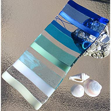 Ocean Beach Glass Plate Sea Glass Jewelry Keeper Fused Glass Sushi Plate Ocean Stripes Spoon Rest Turquoise Blue Sea Glass Appetizer Dish Ocean Waves Beach Glass Art Beach House Decor
