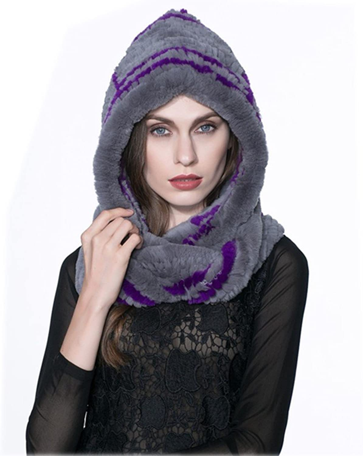 MH Bailment Women with Natural Rabbit Fur Knitted Cap Scarf Winter for Women