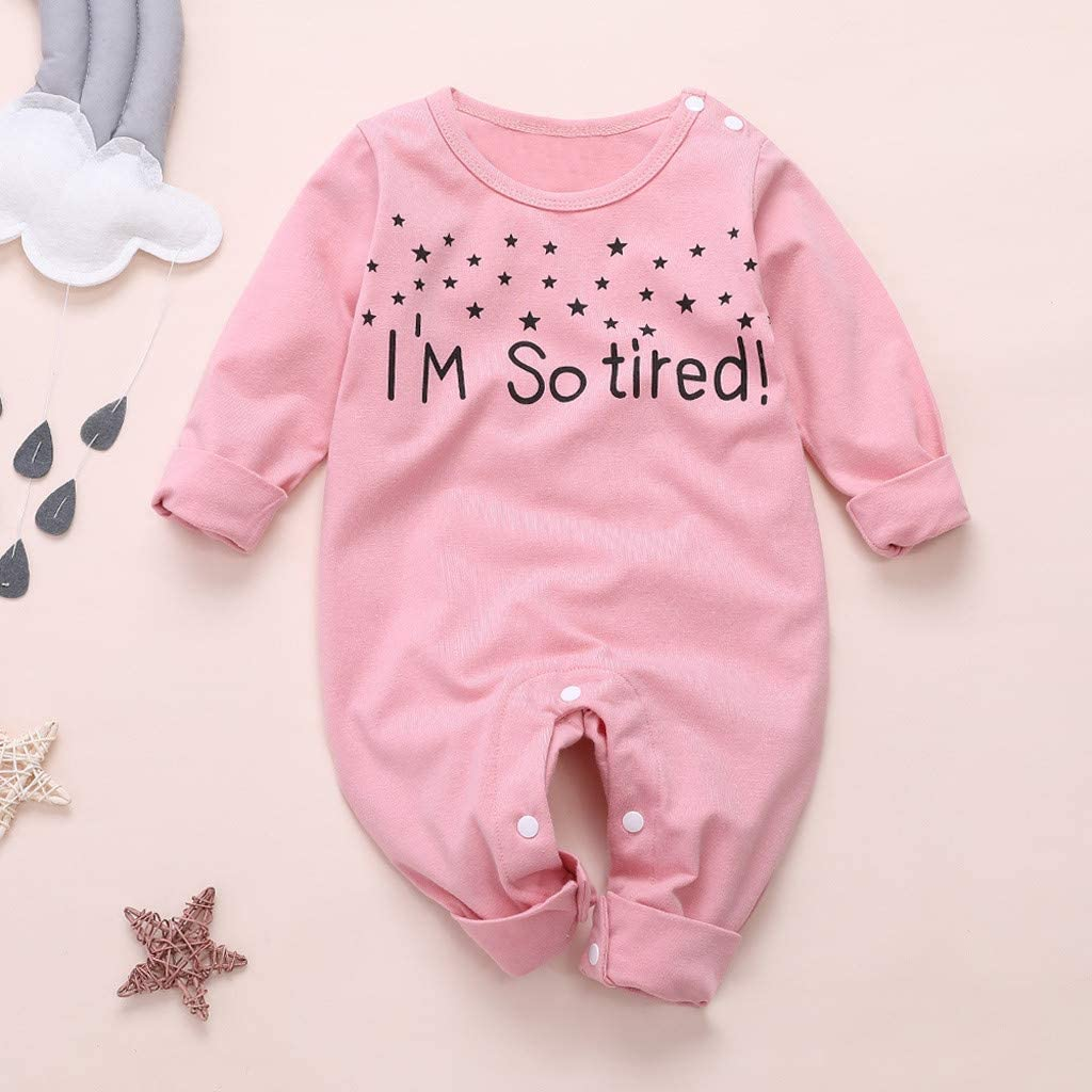 Verve Jelly Baby Boy Girls Letter Print Long Sleeve Pajamas Jumpsuit Outfits for 0-12 Months Baby