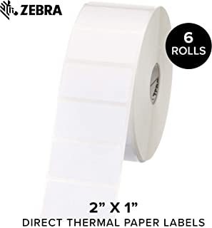 Zebra - 2 x 1 in Direct Thermal Paper Labels, Z-Perform 2000D Permanent Adhesive Shipping Labels, Zebra Desktop Printer Compatible, 1 in Core - 6 Rolls