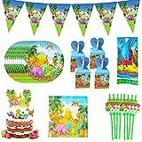 Nesloonp Vajilla de Fiesta de Dinosaurios 90 Piezas de Vajilla de Cumpleaños, Suministros de Fiesta de Dinosaurios, Adecuada para la Decoración de la mesa de Cumpleaños de los Niños
