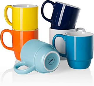 Sweese 605.002 Porcelain Stackable Mug Set - 16 Ounce for Coffee, Tea, Cocoa and Mulled Drinks - Set of 6, Hot Assorted Co...