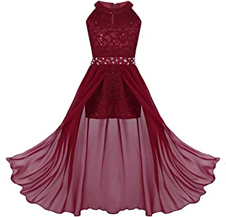 iiniim Kids Big Girls High-Neck Maxi Romper Dress Junior Bridesmaid Wedding Flower Dress Pageant Party Evening Ball Gown