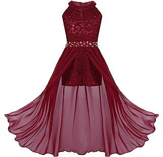 iEFiEL Sweet Prinzessin Lace Blumenmädchenkleider für Hochzeits Brautjungfern Festzug Partei Festliches Kleid Kinder Overall Jumpsuit Gr. 116-176