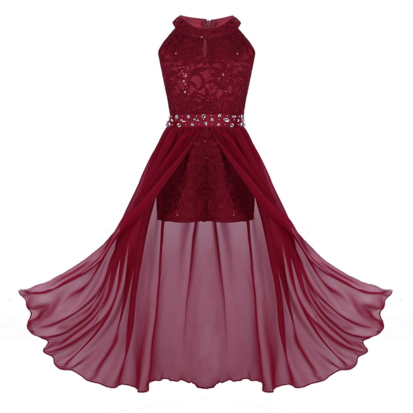 inhzoy Teen Girls Floral Lace Rhinestone Formal Dance Long Romper Dress for Princess Birthday Party School Dancewear