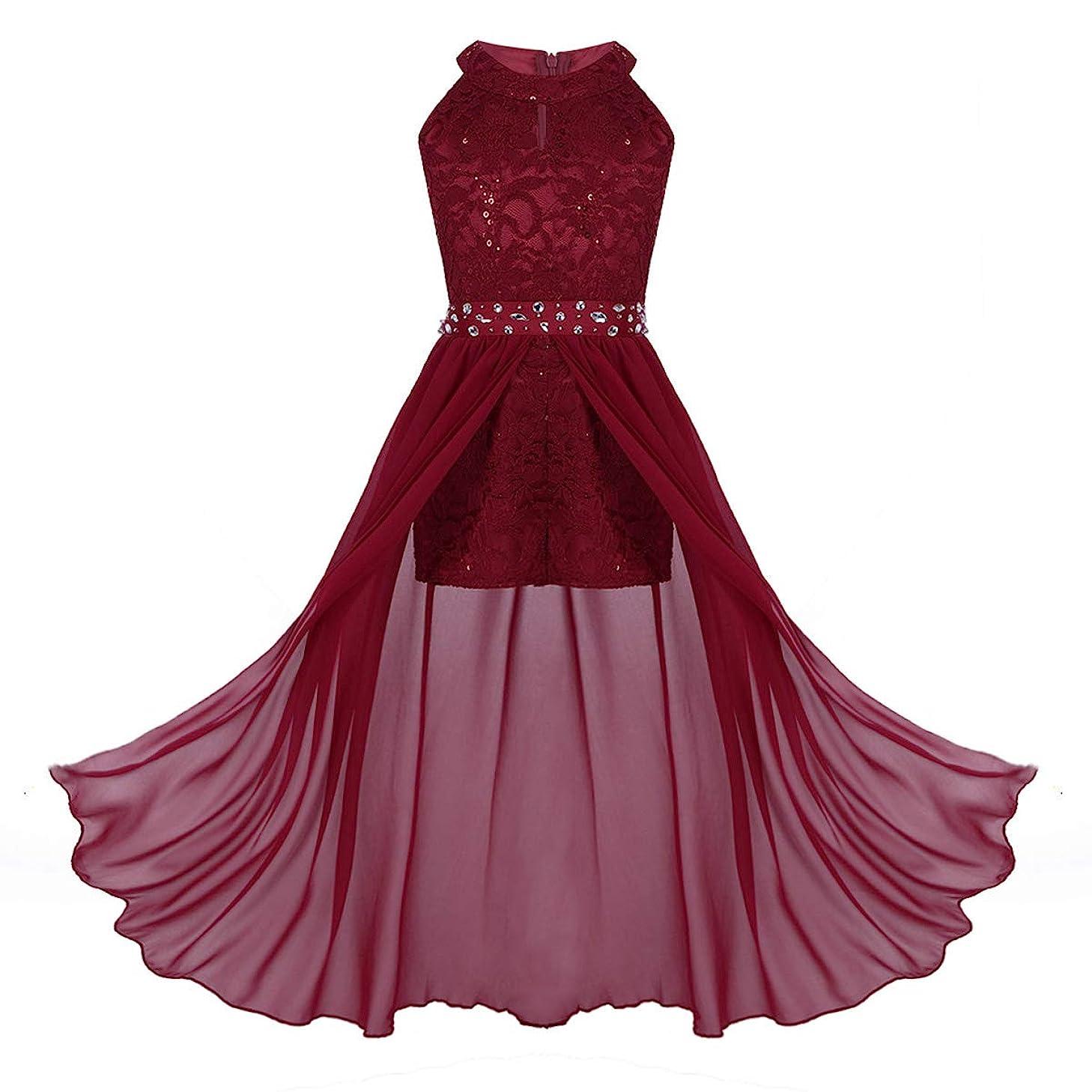 MSemis Kids Girls Floral Lace Rhinestone Long Romper Dress for Pageant Birthday Party School Dancewear
