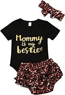 "Newborn Baby Girls Clothes Floral ""Mommy is My Bestie"" Bodysuit Romper +Headband"