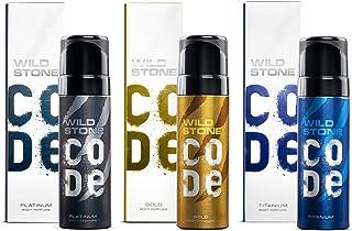 Wild Stone Code Gold, Platinum and Titanium Body Perfume Combo for Men, Multi, Fresh, 120 ml each, Pack of 3