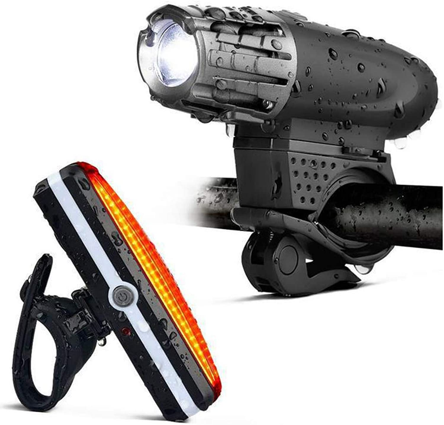 LED Sport Bike Light Kit, Waterproof 300 Lumen Bicycle Headlight, 4 Light Modes, Rechargeable Front and Rear Bicycle Light Set