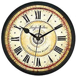 SMILEMARY Wall Clock,12 inch Black Wall Clock European Style Retro Vintage Clock Non - Ticking Whisper Quiet Battery Operated with Roman Numeral for Home Indoor Decor (Black 12')