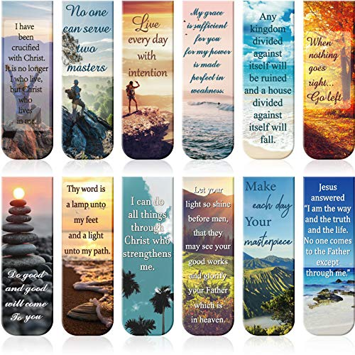 Magnetic Bookmarks Bible Verse Page Clip Scripture Magnet Page Markers Assorted Inspirational Book Markers Set with Landscape for Students Teachers Reading 12 Pieces